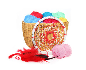 Dreamcatcher and yarn in a basket isolated on a white background