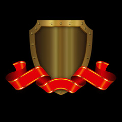 Medieval gold shield and red ribbon.