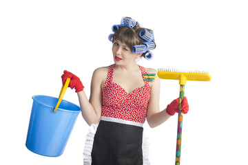 girl housewife cleaner