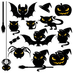 halloween monster design elements set