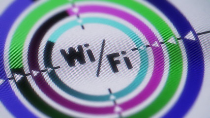 Wi-Fi icon on the screen. looping.