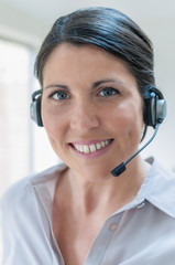 Customer Services Representative talking on headset