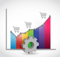 shopping cart business graph illustration