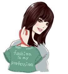 illustration of a beautiful Japanese girl fashion designer