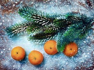 Christmas decorations, mandarines