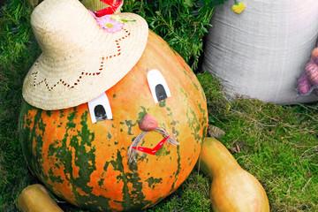 Large pumpkin originally executed as an amusing figurine.