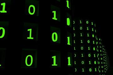 database met groene nullen en enen