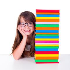 Girl next to book column