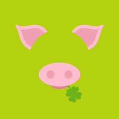 Abstract Card Pig Clover Green