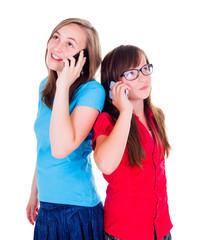 Girls talking on their mobile phones