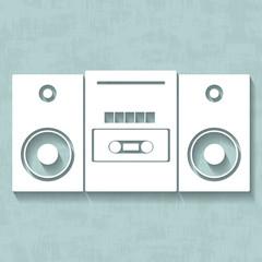 Vector white tape recorder