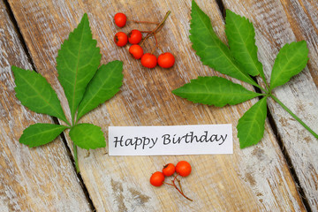 Happy birthday card with green leaves and rowan berries
