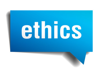 ethics blue 3d realistic paper speech bubble