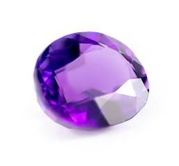 Closeup of natural purple amethyst gemstone