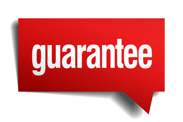 guarantee red 3d realistic paper speech bubble