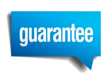 guarantee blue 3d realistic paper speech bubble