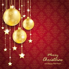 Golden Christmas Baubles Red Background Ornaments