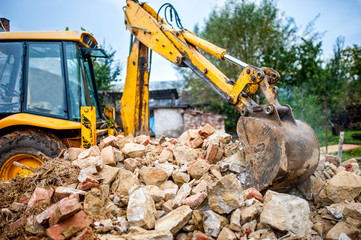 industrial hydraulic excavator on construction
