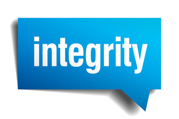 integrity blue 3d realistic paper speech bubble