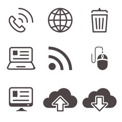 Internet network communication mobile devices icons set