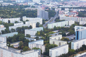 top view on residential quarters of Berlin