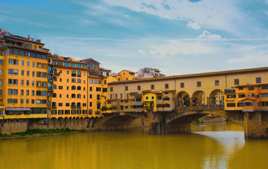View of Gold (Ponte Vecchio) Bridge in Florence