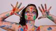 canvas print picture - frau mit farben bemalt