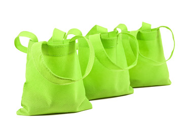 Row of Neon Green Cloth Bags