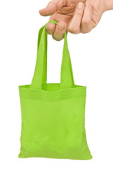 Hand Holding Green Shopping Bag