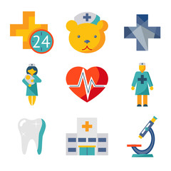 Medical care and health isolated modern trendy flat icons set