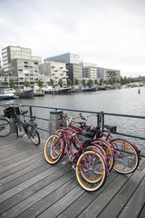 bicycles and modern housing at westerdok in Amsterdam