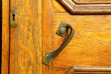 the travedona monate rusty brass brown knocker in a  door