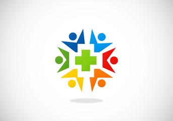 people circle medic health vector logo