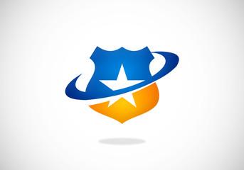 star shield protection vector logo