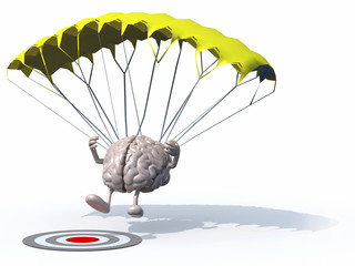 brain that is landing with parachute on a target