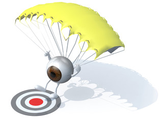 eyeball that is landing with parachute on a targe