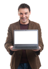 Smiling man presenting his laptop screen