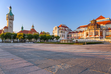 Baltic architecture of Sopot with gardens, Poland
