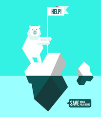 Polar bears with help sign. flat design element. vector