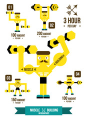 Building muscle & Fitness Infographics. flat design vector
