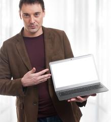 young man advertising laptop