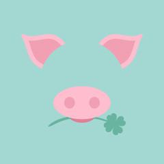 Abstract Pig Clover Retro