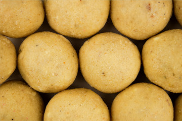 Close up of Indian Laddu Sweet Truffles