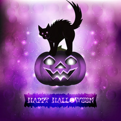 Scary cat in purple background