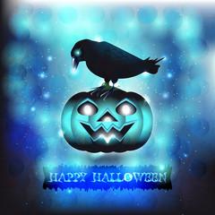 Black bird and Halloween pumpkin