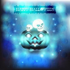 Skulls and pumpkin in blue background