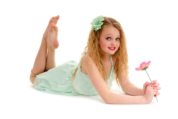 Preteen Dancer Girl with Flower