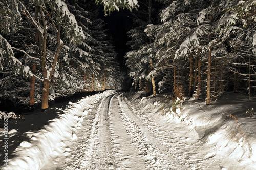canvas print picture verschneite straße bei nacht