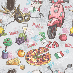 italy. picture of food, fruit, wine, carnival masks and other