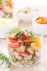 salad with fresh vegetables and cottage cheese